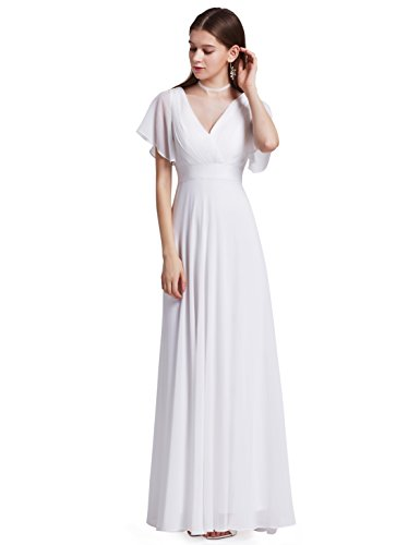 Ever-Pretty Womens Empire Waist V Neck Semi Formal Evening Dress 22 US White