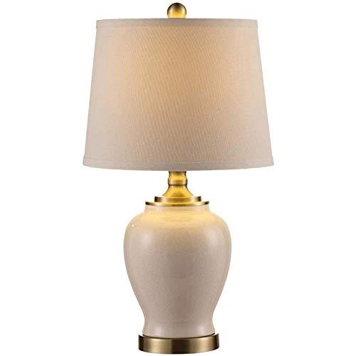 HJY Home Simplicity Lámpara de Mesa Lámpara de Mesilla de Noche Pantalla de Tela Lámpara de Dormitorio Lámpara de Escritorio de Noche de Cerámica Nórdica Simple para Lámparas de Escritorio de Sala de