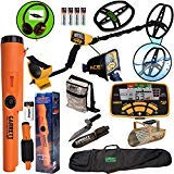 Garrett ACE 400 Metal Detector with DD Waterproof Coil, Propointer AT Pinpointer, Metal Scoop, Camo Pouch, Edge Digger and 50' Travel Bag