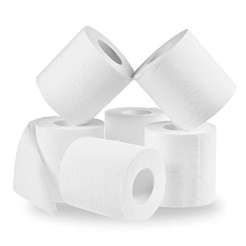 Rollo de papel higiénico Godya 6/10 rollos de papel blanco, sedoso de 3 capas, rollo de papel higiénico, rollo de papel higiénico, cantidad de papel hueco, rollo de papel de repuesto para decoración del hogar, baño o baño, Blanco, 10 rolls