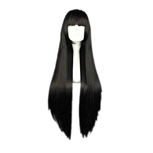 Cosplay Wig Long Straight Flat Bang Synthetic Wig Anime Black Hair