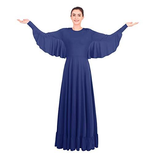 FYMNSI Damska pochwała krzyż taniec sukienka skrzydła anioła długi rękaw pełna długość liturgiczna odzież do tańca kościoła kostium luźny krój tunika huśtawka na co dzień sala balowa maxi sukienka na studniówkę