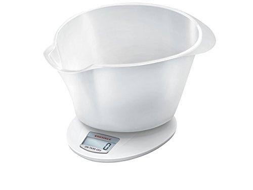 Soehnle Digitale Küchenwaage Roma Plus mit 5 Kilo Tragkraft und 1-g-Wiegepräzision, Waage mit praktischer Rührschüssel, elegante Waage für die Küche mit LCD-Anzeige und Abschaltautomatik, weiß