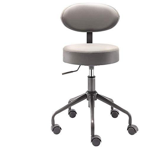 Tabouret de coiffeur , Chaise pivotante Tabouret sur la roue,Tabouret de toilettage avec siège en tissu de lin blanc,hauteur réglable 44-54 cm,poids supporté 160 kg,tabouret de barre de selle avec dos