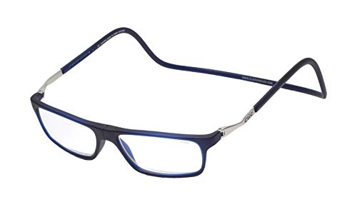 CliC Executive XL Magnetic Reading Glasses, Front Connecting Dark Matte Blue +1.25 Readers