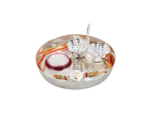 GoldGiftIdeas Pure 999 Silver OM Rakhi for Brother, Golden -Silver Rakhi for Rakshabandhan with Pooja Thali Set (5 Inch), Rudraksh Tulsi Beads Elegant Rakhi (Men/Boys), Rakhi Gift