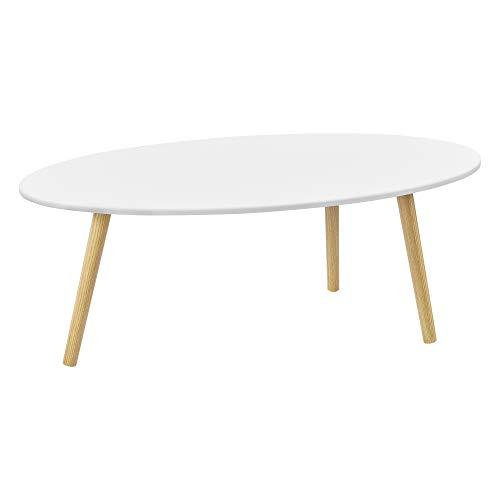 [en.casa] Couchtisch Viborg 109,5 x 59,5 x 39,5 cm Beistelltisch MDF Massivholz Weiß