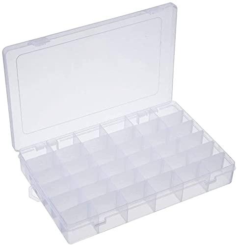 Caja de almacenamiento con 36 compartimentos de plástico desmontable para joyas, multifuncional, creativa, pequeña, caja de almacenamiento, para escritorio, manualidades, transparente