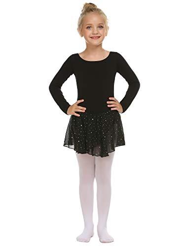 trudge Mädchen Ballettkleidung Ballettkleid Kinder Langarm Baumwolle Balletttrikot Ballettanzug Tanzkleid Tanzbody mit Rock Tütü, A Schwarz, 150