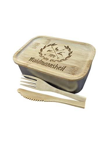 LASERHELD Edelstahl Lunchbox mit Holzdeckel, Besteck, Gummidichtung und Gravur - Jausendose Jausenbox Vesperdose Frühstücksbox Brotdose Brotzeitdose (WAIDMANNSHEIL)