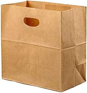 GMQG 50pcs set die cut paper bag 90gsm, size 28x28x15cm, kraft paper bags grocery bags takeaway bags for restaurant bakery...