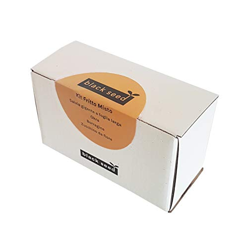 BLACK SEED - KIT DE FRITAS MEZCLADAS - Kit de semillas - Idea de regalo que contiene 4 variedades de verduras para freír: salvia gigante con hojas grandes, okra (okra), borraja, calabacín da fiore.