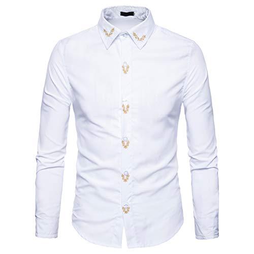 Z&Y Glaa Men's Casual Button Down Denim Shirts Long Sleeve Dress Shirt Cowboy Shirts Long Sleeve Casual Regular Fit Denim Shirt Floral Embroidery Button Down Western Shirts Men's Long Sleeve Shirts