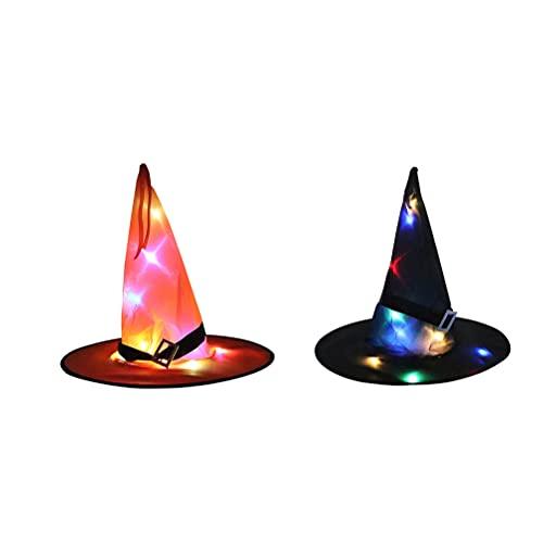 Gyj&mmm Sombrero de Halloween Colgante, Sombrero LED Iluminado, Decoraciones de Halloween, Luces Brillantes de Sombrero de Bruja para Exteriores, Patio, rbol, Halloween,Style 1