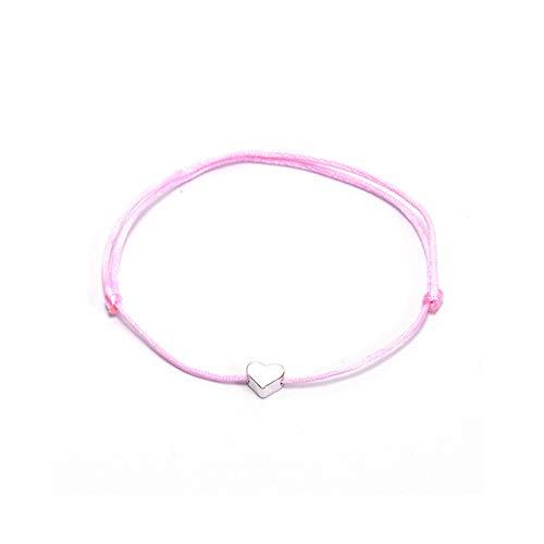 CAIYCAI Women Children Gold Color Heart Bracelet Silver Handmade Rope Adjustable String Lucky Bracelet Pink-Silver onesize