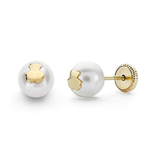 Pendientes oro 18k perla cultivada 6mm. osito cierre tornillo [8811]