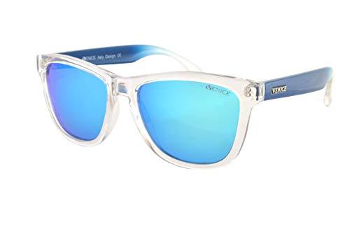 VENICE EYEWEAR OCCHIALI Gafas de sol unisex polarizadas con protección 100% UV400 (Transparente Azul)