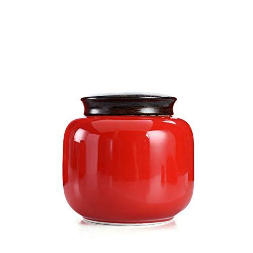 CNTJMJY - Barattolo in silicone ad anello in imitazione legno, copertura in ceramica, tè rosso, verde e tè, ermetico, trasparente, per alimenti e cereali, Ceramica, Rosso, 12.6X12CM