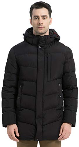 ICEbear Men's Winter Thicken Coat Long Quilted Puffer Jacket with Hood Black
