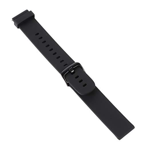 Hemobllo Pulseiras de Silicone para Relógio de Liberação Rápida Macia de Aço Inoxidável Fivela Smartwatch Pulseira de Substituição Compatível com Amazfit Bip (20 mm, Branco), Preto, 12X9CM