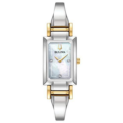 Bulova Classic Quartz Ladies Watch, Stainless Steel BangleDiamond , Silver-Tone (Model: 98P188)