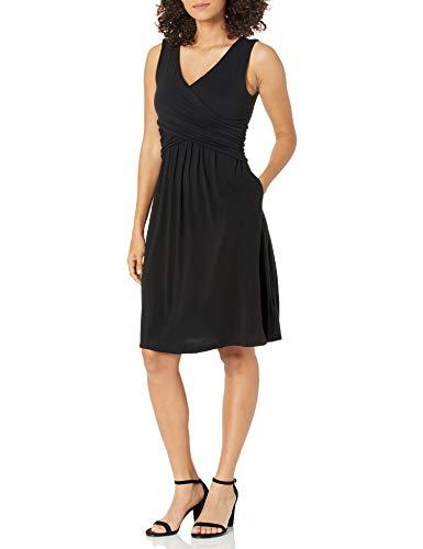 Amazon Essentials Ärmelloses Crossover-Kleid Dresses, Schwarz, US M (EU M - L)
