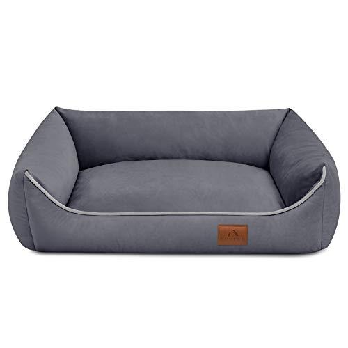 FUUFEE Cama para perros de Hundesofa, funda extraíble con cremallera, lavable, color gris, 120 x 90 cm L