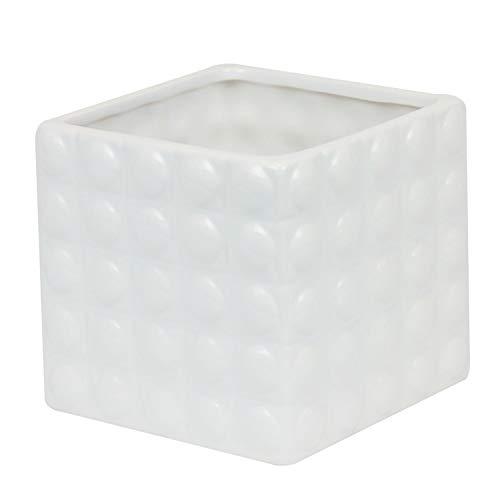 Maceta Macetero Para Plantas De Cerámica Serie llano cuadrado 13,5X 13,5X 12,5cm), color blanco