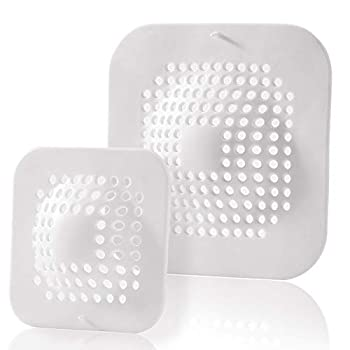 AEMUZ Hair Catcher Shower Drain Protector Covers Square 2 Pack Durable Silicone Hair Stopper for Bathroom Bathtub Kitchen Sink Strainer White