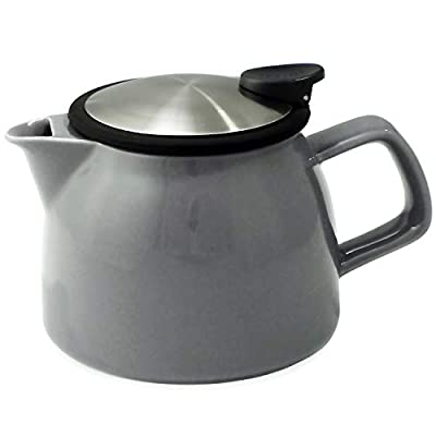 FORLIFE Bell Ceramic Teapot with Basket Infuser 16-Ounce/470ml, Gray