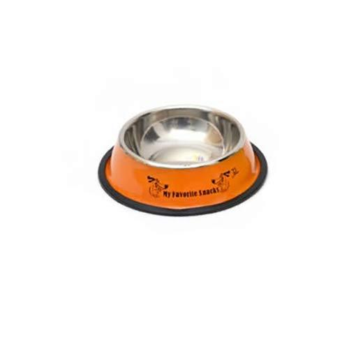 Tuzi Qiuge Pet Supplies, Edelstahl Tragbare Fressnapf Anti-Rutsch-und haltbarer Hund Katze Wasser-Schüssel mit Cartoon-Muster, Spezifikation: 13 * 17,7 * 5CM (Color : Orange)