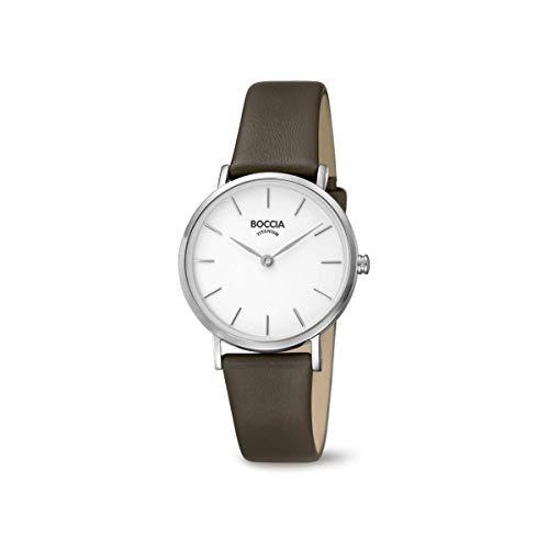 Boccia Damen Analog Quarz Uhr mit Leder Armband 3281-01