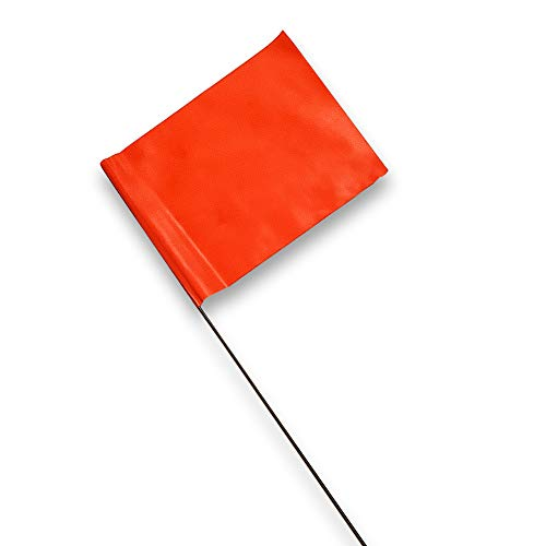 ACE Supply Marking Flags - 4 x 5-Inch Flag on 15-Inch Steel Wire - Fluorescent Orange, 100-Pack - Markers for Lawn Sprinklers, Irrigation, Property Line, Yard & Garden, Survey Stakes, Invisible Fence