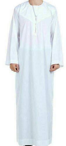56 White Men Abaya Robe Thoub Daffah Dishdasha Islamic Arab Kaftan Muslim Dress Omani Thobe