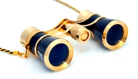 Finissimo Optics 3x25 Black Opera Glasses with Chain Necklace / Theater Binoculars / with Gold Trim