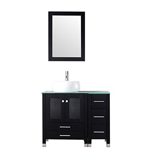 "BATHJOY 36"" Black Bathroom Wood Vanity Cabinet Top Round Ceramic Vessel Sink Faucet Drain Combo with Mirror Vanities Set"
