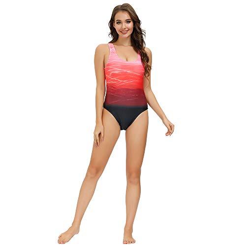 Sweetneed Bañadores de Mujer Traje de una Pieza con Relleno Bañador Push up Ropa de Baño Cintura Alta Size Gradiente de Color Cruz Atrás Slim Fit Cuerpo Atractivo Bañera Bikini (2XL(14-16), Naranja)