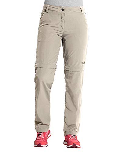 Jack Wolfskin Damen Marrakech Zip Off Pants UV-Schutz Outdoor Schnelltrocknend Freizeit, Reisehose Hose, Light Sand, 44