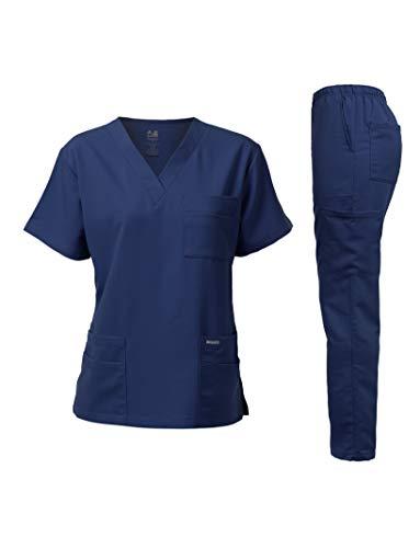 Dagacci Medical Uniform Unisex Women and Men's V-Neck Super Stretch Scrub Set, Navy, XS