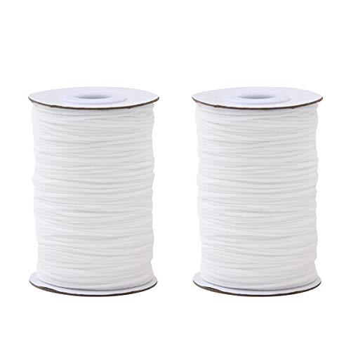 1/8 inch Width Elastic Rope for Mk DIY,White Earloop Cord Ear Tie Rope Handmade String for M k Sewing 50-Yards Length Premium Quality .