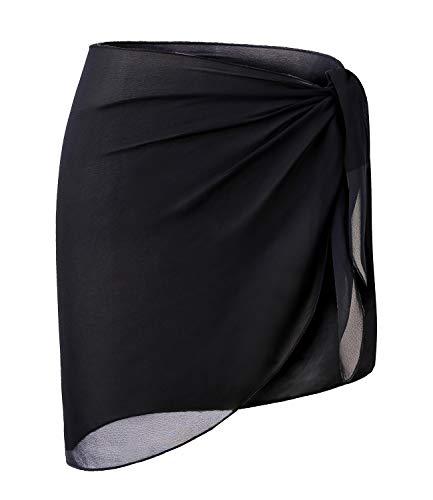 LIENRIDY Women's Srong Wrap Beach Swimwear Short Cover up Pareo Swimsuit Black Short S-M