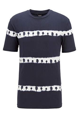 BOSS Herren Tedye Komplett recycelbares T-Shirt mit Batik-Palmen-Print