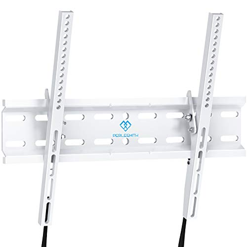 Tilting TV Wall Mount Bracket Low Profile for Most 23-55 Inch LED, LCD, OLED, Plasma Flat Screen TVs with VESA 400x400mm Weight up to 115lbs by PERLESMITH, White PSMTK1W