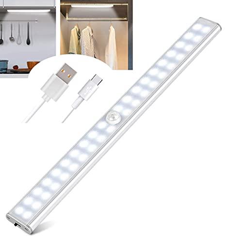 STEELMATES 40 LED, Luce Led Sottopensile, Luce Armadio Led Con Sensore Movimento Ricaricabile Usb, Lampada Led Magnetica, Striscia Led Adesiva Cucina Bagno Camera da Letto
