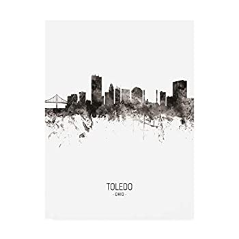 Trademark Fine Art Toledo Ohio Skyline Portrait II by Michael Tompsett 18x24
