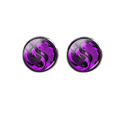 Nuevo Yin Yang Dragones Pendiente Negro Magenta Animales Pendientes Redondo Joyería Cristal Cabujón Oído Stud Para Mujeres