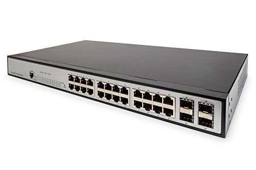 DIGITUS Netzwerk-Switch Managed Layer 2-24 RJ45 Buchsen - 4 SFP Ports - Gigabit Ethernet - 19-Zoll Rack - 1 GBit/s