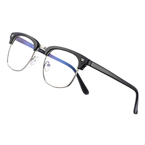 COASION Blue Light Blocking Glasses Semi-Rimless Clear Lens Computer Game Eyeglasses Eyewear Frame(Bright Black)