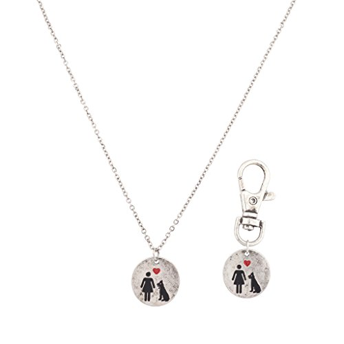 Lux Accessories Dog's Best Friend K9 Owner Necklace Dog Collar Keychain Set BFF Forever Dog