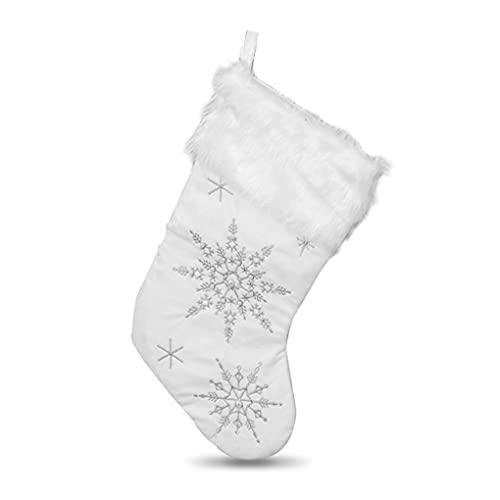 teng hong hui Navidad Cumplimiento la Chimenea la Pared Colgando la Pared Candidora Pared Candies Almacenamiento Ornamentos Rústico Gigante Titular Navidad Sock Adorno Vacaciones, Plata, Copo Nieve